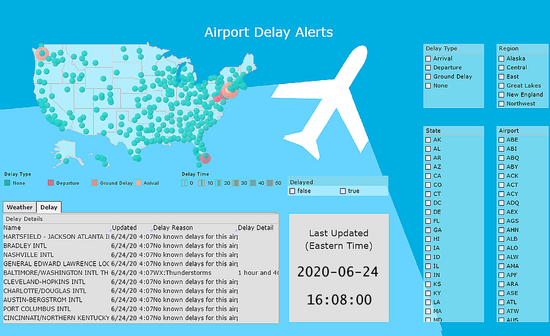 Airport delays dashboard