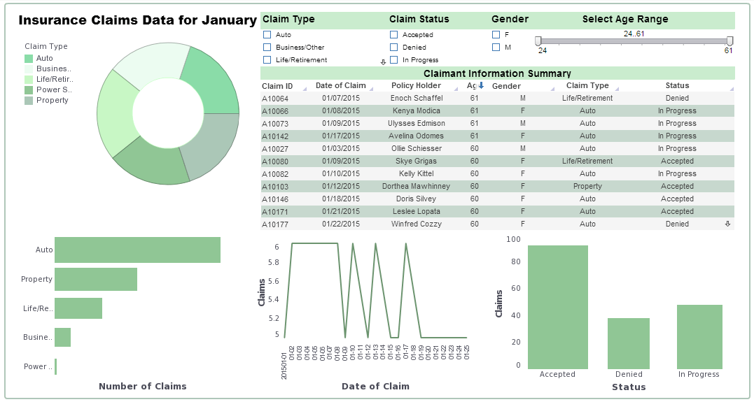 agile BI dashboard example