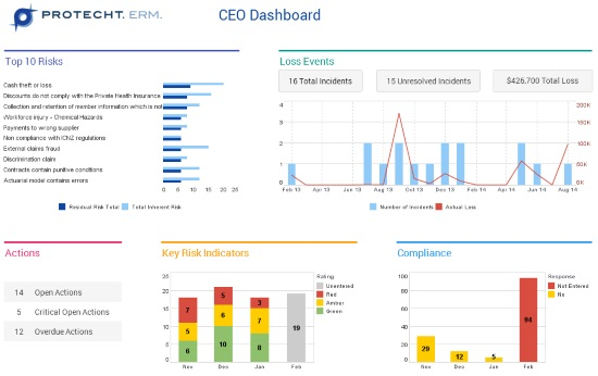 Executive Management Risk Dashboard Example